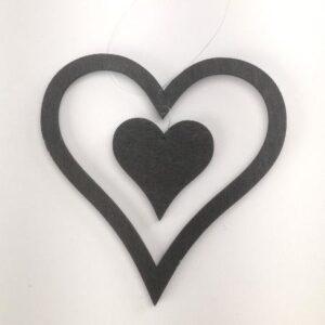Hjerte træ dobbelt - 13 x 10 cm - Sort