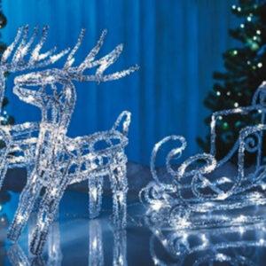 Julekane med lys og rensdyr