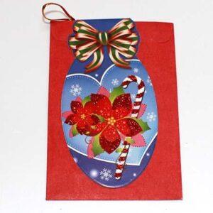 Julekort - Julestjerner og stok - 6 x 9 cm