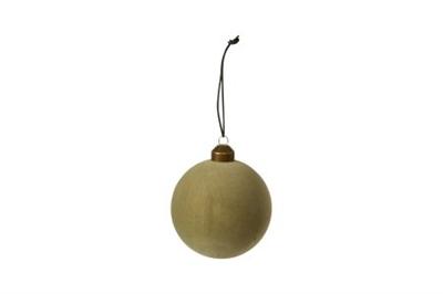 Julekugle - i blød velour look - støvet grøn - Ø6 cm