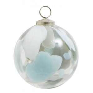 Julekugle i mundblæst glas lyseblå - Nordal dia: 10 cm
