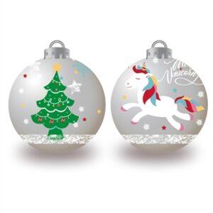 Julekugler med enhjørning, 6x8cm