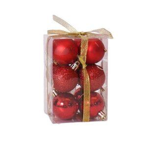 Julekugler plastik - 12 stk -Røde- Ø 4 cm