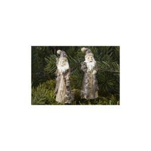 Julemand på pind til krans H7 cm - Brun/Hvid