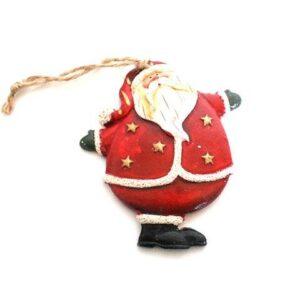Julemand til ophæng - Stående m stjerner - 9 x 8 cm