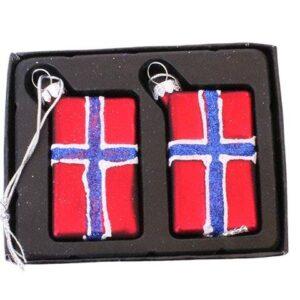 Juleophæng Norsk flag - 5,5 x 3 cm- 2 stk. - Rød og blå