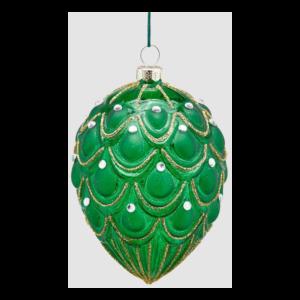 Juleophæng i glas H11 cm - Grøn