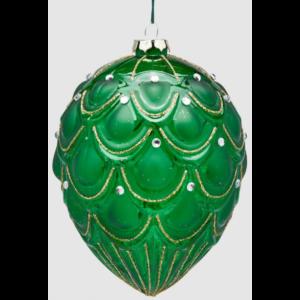 Juleophæng i glas H16 cm - Grøn