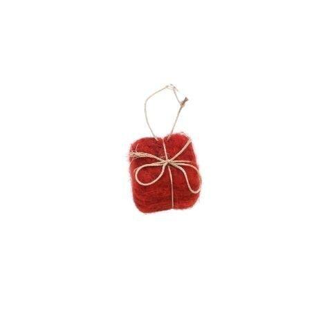 Julepynt ophæng - Uld Gave - H 4 cm - Rød