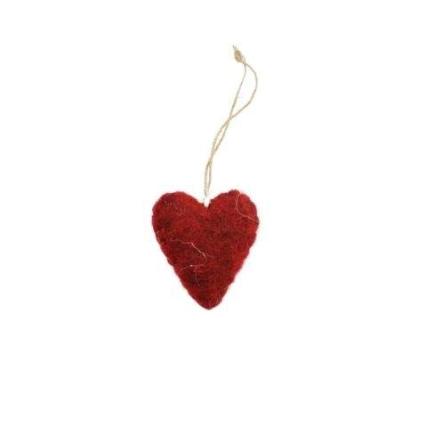 Julepynt ophæng - Uld Hjerte - H 5 cm - Rød