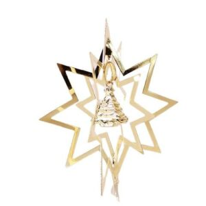 Julestjerne 3D med Juletræ - Ø 8 cm - Guldfarvet