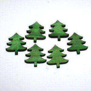 Juletræ grøn udskåret i træ - 5 x 4 cm, 6 stk