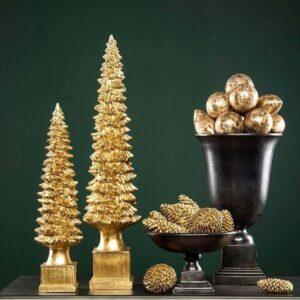 Juletræ i polyresin H50 cm - Guld