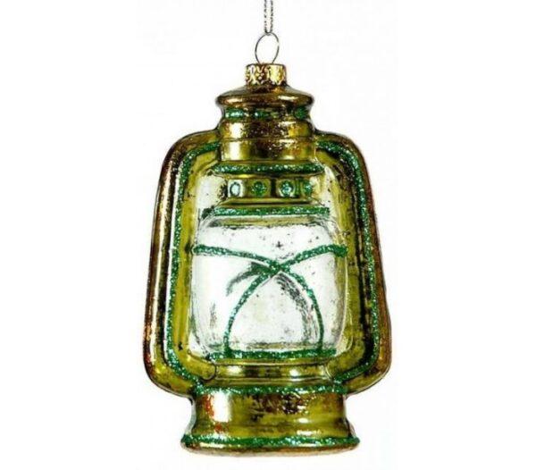 Lanterne i glas H10 cm - Grøn