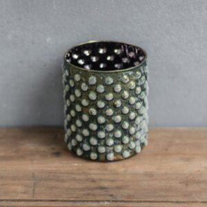 Lysestage i glas H9,5 cm Ø8,5 cm - Frostet grøn
