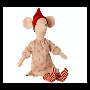 Maileg Julemus - Pige m/ prikket kjole og stribede sokker - Medium