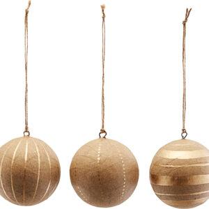 Ornament, Craft, Sæt Af 3 Designs by House Doctor (Ø: 8 cm., Guld)