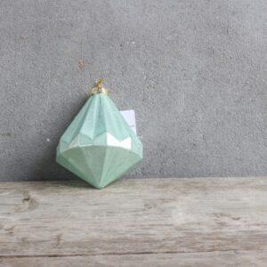 Rustik juleophæng i glas 7 x 9 cm - Grøn