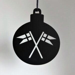 Ryborg Urban Designs - Julekugle med Flag - Sort