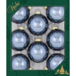 Sæt med 8 glaskugler Ø6,7 cm - Blue stone