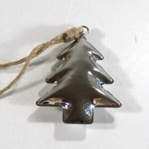 Sølv juleophæng - Juletræ - 11 cm