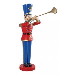 Soldat med trompet H122 x D79 x B36 cm - Rød/Blå
