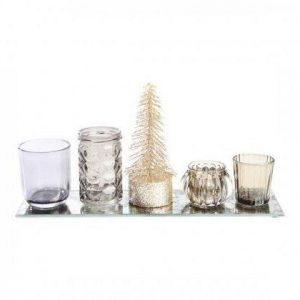 Spejlfad med 4 lysestager og juletræ - L 35 cm