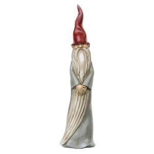 Stående nisse i polyresin H25 cm - Grå/Rød