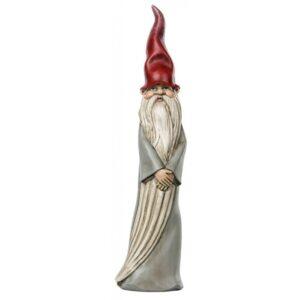 Stående nisse i polyresin H31 cm - Grå/Rød