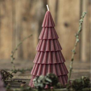 Stearinlys juletræ - Bordeaux - Ib Laursen - H: 15 cm