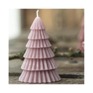 Stearinlys juletræ - Lyserød - Ib Laursen - H: 8,5 cm