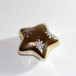 Stjerne m/snefnug - Guld 6 cm