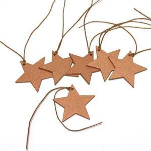 Stjerne vedhæng - guld - 5 cm - 6 stk