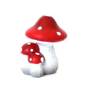 Svampe 3 keramik - Rød m hvide prikker - H 9 cm
