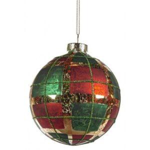 Tartan julekugle i glas Ø10 cm