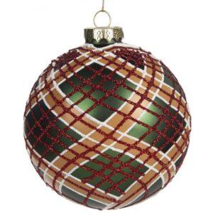 Tartan julekugle i glas Ø10 cm - Grøn