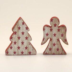 Træfigurer sæt med 2 stk - Engel og juletræ