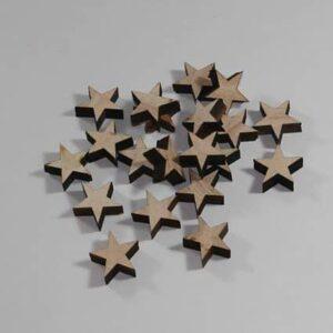 Træstjerner, natur - Ø 2 cm, 15 stk