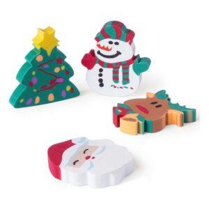 Viskelæder - Rensdyr, Juletræ, Julemanden Og Snedukke - 4 Stk