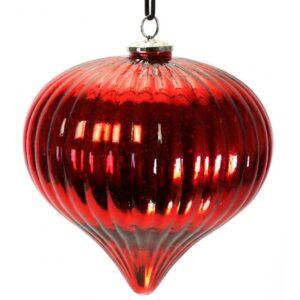 XXL Julekugle i glas H23 x Ø22 cm - Rød