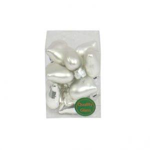 2. sortering - Julekugle hjerte - Sølv - Ø 4 cm - 12 stk