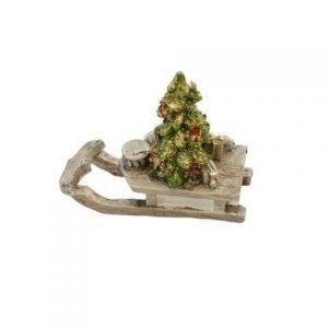 Julekælk med juletræ - L 7 x H 5 cm - Grå