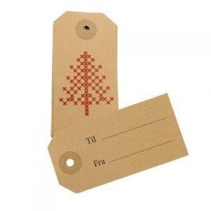 Til og fra kort Jul - Manilla m juletræ -10 stk