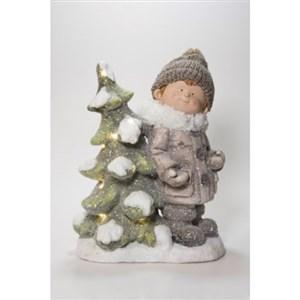 Dreng med LED juletræ.