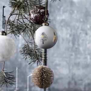 "Julekugle grå m/ guld træer - House Doctor ""Woods"""