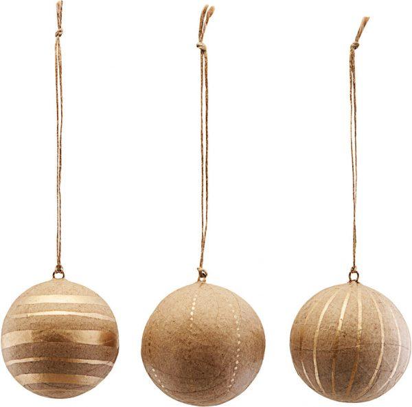 Ornament, Craft, Sæt Af 3 Designs by House Doctor (Ø: 5 cm., Guld)
