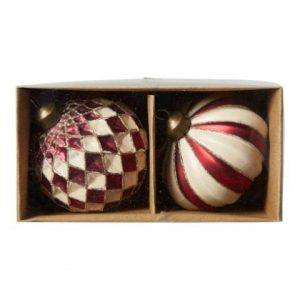 2. sortering - Julekugler 2 stk. - Ø 8 cm - Rød og Nude