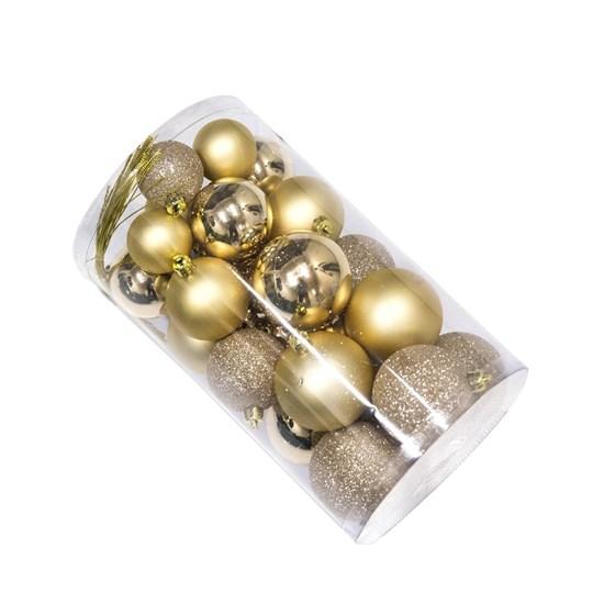Julekugle sæt NORDIC WINTER guld 30 dele