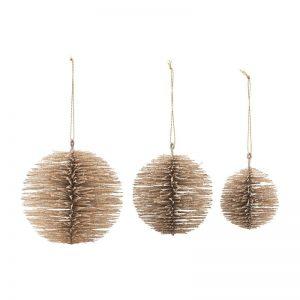 "Ornament ""Ball"" m/ guld finish - House Doctor 3 stk."