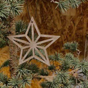 Stjerne af træ guld - Nordal - 4 stk.